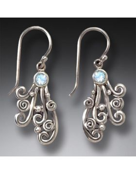 Handmade Silver Rainbow Moonstone Drop Earrings - Spray