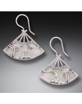 Handmade Geisha Jewelry Silver Fan Earrings - Fan