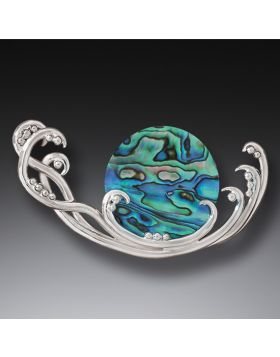 Handmade Silver Paua Jewelry Ocean Pin - Surf Spray