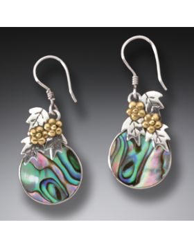Handmade Silver Paua Earrings with 14kt Gold Fill - After The Flood