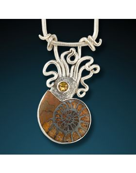Ammonite, silver squid pendant - Ammonite Squid Pendant