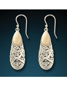 Fossilized mammoth ivory spiral earrings - Teardrop Spiral Earrings
