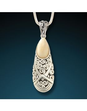 Fossilized mammoth ivory spiral pendant - Teardrop Spiral Pendant