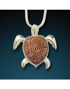 Fossilized mammoth ivory turtle pendant - Sea Turtle