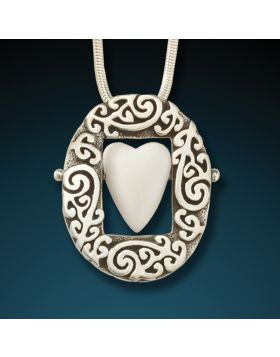 Silver and ancient mammoth ivory heart pendant - Open Your Heart