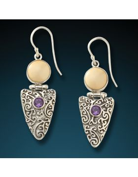Fossilized mammoth ivory and amethyst arrowhead earrings - Amethyst Arrowhead Earrings