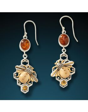 Fossilized mammoth ivory honeycomb bee earrings - Honeycomb Bees
