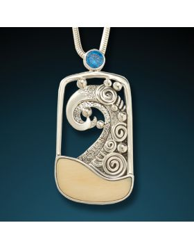 Fossilized Mammoth wave pendant - Cresting Wave