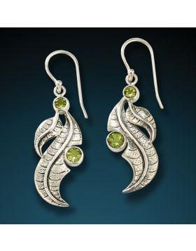 Silver and peridot leaf earrings - Peridot Leaves