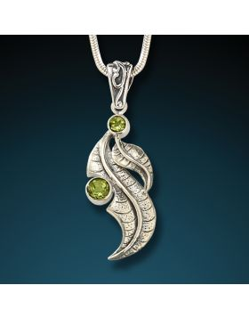 Silver and peridot leaf pendant - Peridot Leaf