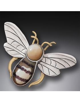 Fossilized Walrus Ivory Silver Bee Pin/Pendant
