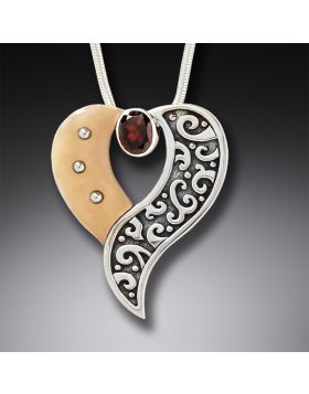 Fossilized Walrus Ivory Heart Necklace with Garnet