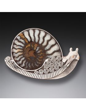 """Snail,"" Silver & Moroccan Ammonite Pin"
