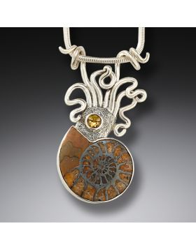 Ammonite and silver squid pendant - Ammonite Squid Pendant