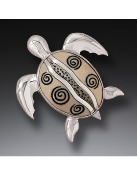 Mammoth Ivory Jewelry Silver Sea Turtle Pin or Pendant, Handmade - Turtles at Play