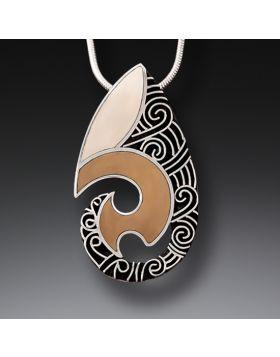 Mammoth Ivory Tusk Handmade Silver Pendant - Maori Design