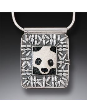 """Panda,"" Silver & Ancient Mammoth Ivory Locket"