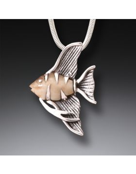 Fossilized Walrus Tusk Ivory Angelfish Jewelry, Handmade Silver - Angel Fish Necklace