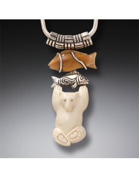 Fossilized Walrus and Mammoth Ivory Polar Bear Pendant, Handmade Silver - Bear with Fish