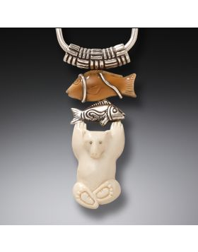 Mammoth Ivory Polar Bear Pendant, Handmade Silver - Bear with Fish