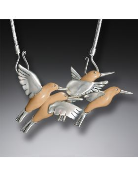 Fossilized Walrus Tusk Silver Hummingbird Necklace, Handmade (includes chain) - Hummingbirds