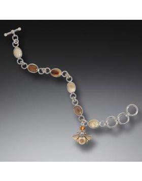 Fossilized Walrus Ivory Citrine Bee Charm Bracelet, Handmade Silver - Bee Charm