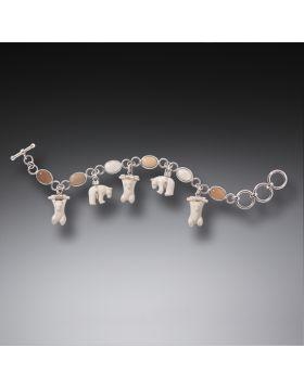 Mammoth Ivory Polar Bear Bracelet, Handmade Silver - Bears