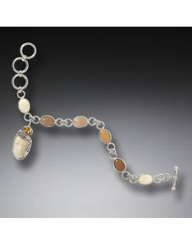 Mammoth Tusk Ivory Enigma Bracelet, Handmade Silver - Enigma