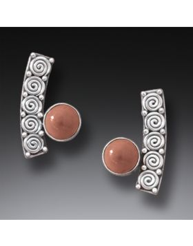 Fossilized Mammoth Ivory Silver Spiral Earrings - Spirals