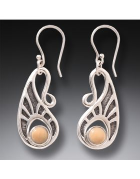 Fossilized Walrus Ivory Silver Hook Earrings, Handmade - Tribal Hook