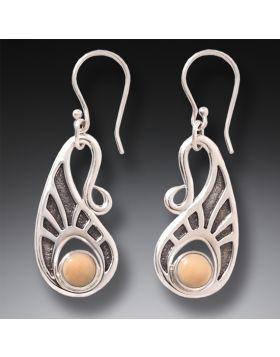 a5cbd95d3 Fossilized Walrus Ivory Silver Hook Earrings, Handmade - Tribal Hook