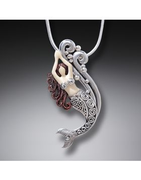 Mammoth Tusk Ivory Silver Mermaid Pendant, Handmade Silver - Mermaid in Spray