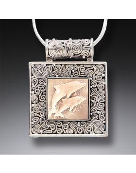 Mammoth Ivory Tusk Dolphin Locket, Handmade Silver - Dolphin Play