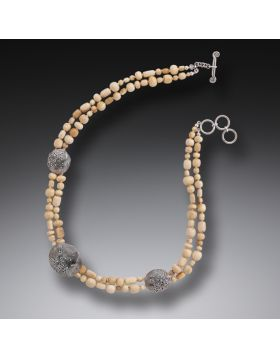 Mammoth Ivory Bead Necklace, Handmade Silver - String Theory III