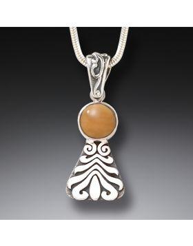 Fossilized Walrus Tusk Motif Necklace, Handmade Silver - Wave Motif