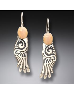 Fossilized Walrus Ivory Silver Wings Earrings, Handmade - Wings