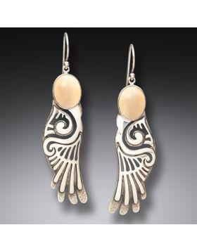 Mammoth Ivory Jewelry Silver Wings Earrings, Handmade - Wings