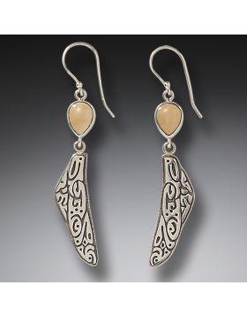 Mammoth Ivory Jewelry Dragonfly Wing Earrings, Handmade Silver - Tribal Wings