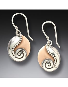Handmade Silver Fossilized Walrus Ivory Earrings - Life Stream