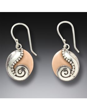Handmade Silver Mammoth Ivory Earrings - Life Stream