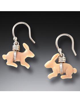 Fossilized Mammoth Ivory Handmade Silver Bunny Earrings - Bunnies