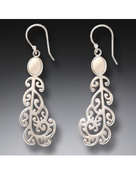 Ancient Mammoth Ivory and Silver Koru Earrings - Moondance