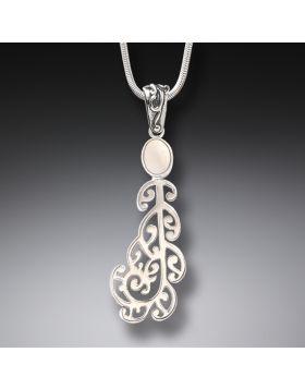 Ancient Mammoth Ivory and Silver Koru Pendant - Moondance