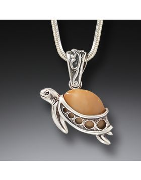 Fossilized Mammoth Ivory and Silver Turtle Pendant - Turtle Hatchlings