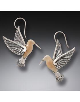 Fossilized Walrus Ivory and Silver EarringsHummingbird II