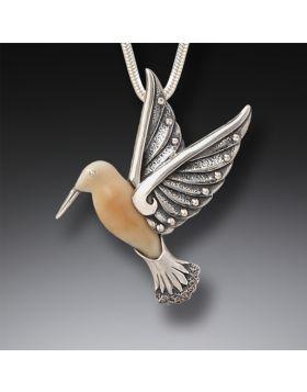 Fossilized Walrus Ivory and Silver Pendant - Hummingbird II