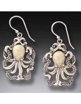 Fossilized Walrus Octopus Earrings - Octopus Earrings