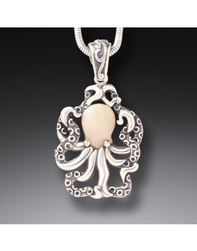 Fossilized Mammoth Ivory Octopus Pendant - Octopus Pendant