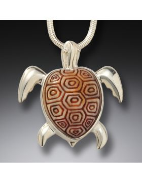 Fossilized walrus ivory turtle pendant - Sea Turtle
