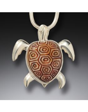 Fossilized mammoth ivory turtle pendant - Sea Turtle